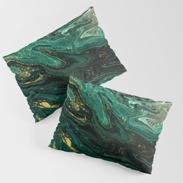 Abstract Pour Painting Liquid Marble Dark Green Teal Painting Gold Accent Pillow Sham