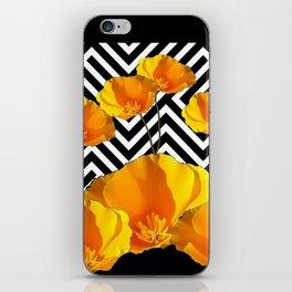 BLACK & WHITE CALIFORNIA YELLOW POPPIES ART iPhone Skin