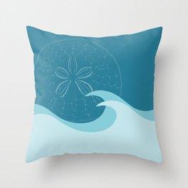 Waves with Sand Dollar - Digital Art  Throw Pillow