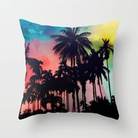 palm tree Throw Pillows featuring palm tree by mark ashkenazi