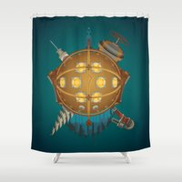 bioshock Shower Curtains featuring Bioshock tribute by Javier Robles