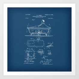 Rocking Oscillating Bathtub Patent Engineering Blueprint Art Print
