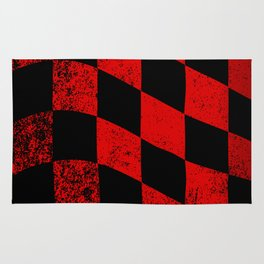 Red Dirty Chequered Flag Rug