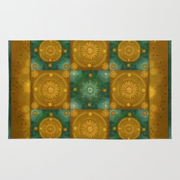"""Moroccan chess Celestial & Ocher Pattern"" Rug"