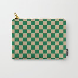 Tan Brown and Cadmium Green Checkerboard Carry-All Pouch