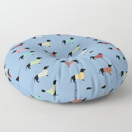 Dachshund Pattern with Blue Sweaters #708 Floor Pillow