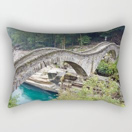 The Romantic Bridge, Ponte dei Salti, Lavertezzo, Switzerland River Verzasca photograph Rectangular Pillow
