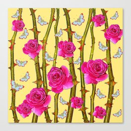 WHITE BUTTERFLIES & CERISE PINK ROSE THORN CANES YELLOW Canvas Print