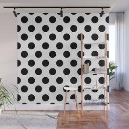 Black and White Medium Polka Dots Wall Mural