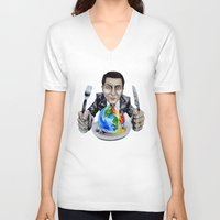 suit V-neck T-shirts featuring Suit by 13 Styx