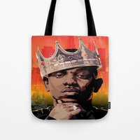 kendrick lamar Tote Bags featuring King Kendrick by Tecnificent