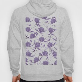 Hand painted lilac violet watercolor splatters floral Hoody