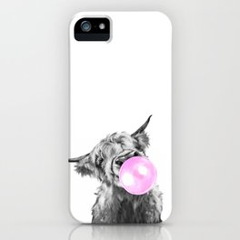 Bubble Gum Highland Cow Black and White iPhone Case