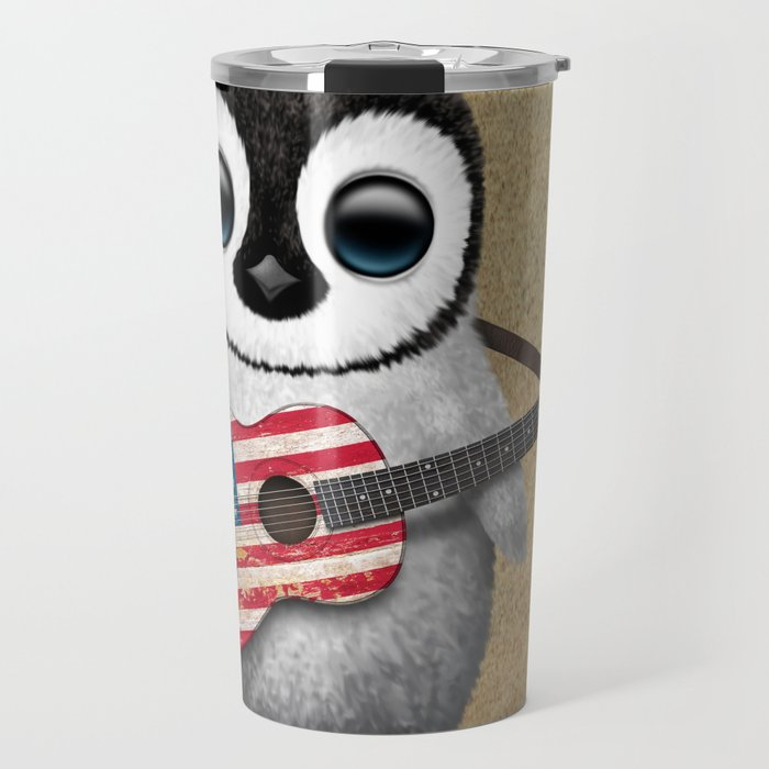 Baby Penguin Playing American Flag Acoustic Guitar Travel Mug