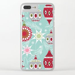 Retro Christmas Paper Pattern Clear iPhone Case