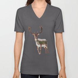 Deer Double Exposure Unisex V-Neck