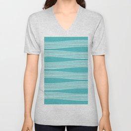 wavy stripes in aqua Unisex V-Neck