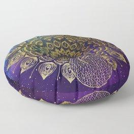 The Golden Peacock Floor Pillow