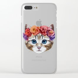 Portrait of Cat with  floral head wreath. Clear iPhone Case