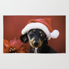 Christmas Dachshund Puppy Wearing a Santa Hat with Poinsettias Rug