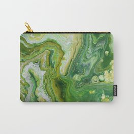 Take Five Fluid Acrylic Pour Painting Green Yellow Carry-All Pouch