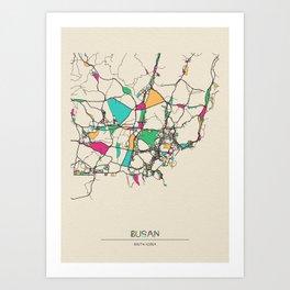 Colorful City Maps: Busan, South Korea Art Print