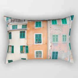 Cinque Terre Houses - Italy Travel Photography Rectangular Pillow