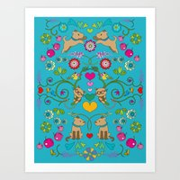 turquoise colorfull dogs & cats Art Print
