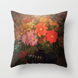 'Flowers in Vase, Night' still life painting by Gaetano Previati Throw Pillow