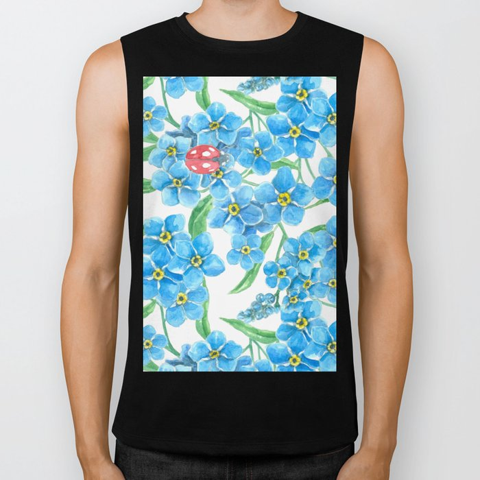 Forget me not seamless floral pattern Biker Tank