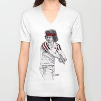 tennis V-neck T-shirts featuring Tennis Mcenroe by Paul Nelson-Esch Art