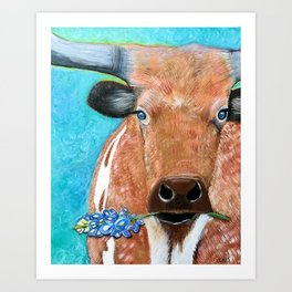 Longhorn with Bluebonnet Art Print
