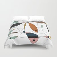 fishing Duvet Covers featuring Fishing net by FLATOWL