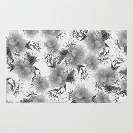 Modern gray white watercolor elegant floral Rug