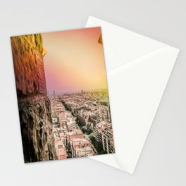 Colorful Rainbow View from Sagrada Familia over the Old City of Barcelona Stationery Cards