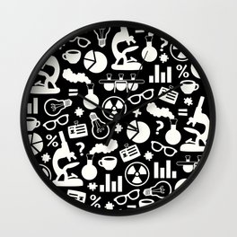 Black and White Science Pattern Wall Clock