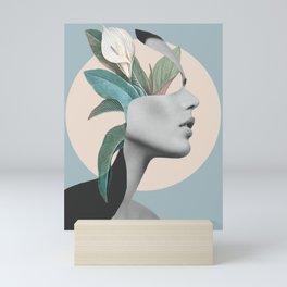 Floral Portrait /collage Mini Art Print