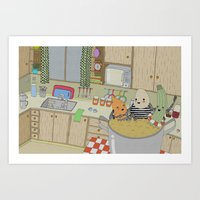 vegetable Art Prints featuring Vegetable Soup by yellow pony