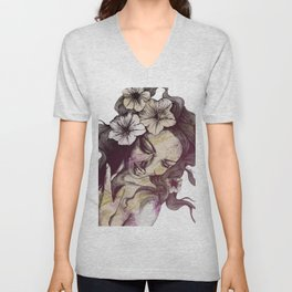 In The Year Of Our Lord: Wine (smiling lady with petunias) Unisex V-Neck