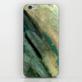 Green Thumb - an abstract mixed media piece in greens and blues iPhone Skin