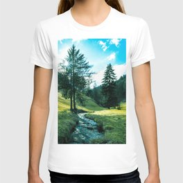 Green fields, trees and a magical brook T-shirt