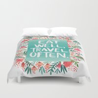 eat Duvet Covers featuring Eat Well, Travel Often Bouquet  by Cat Coquillette