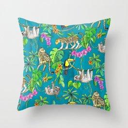 Rainforest Friends - watercolor animals on textured teal Throw Pillow