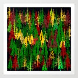 autumn fir forest Art Print