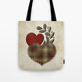 Red & Green Plaid Heart Love Letter Tote Bag