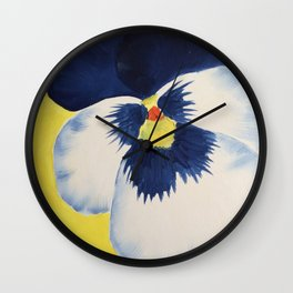 Blue and white Pansy on Yellow  Wall Clock