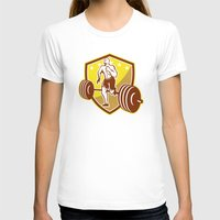 crossfit T-shirts featuring Crossfit Athlete Runner Barbell Shield Retro by patrimonio