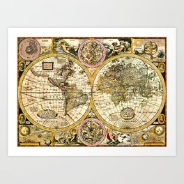 Gorgeous Old World Map Art from 15th Century Art Print