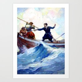 """A Pretty Fight"" Pirate Art by Frank Schoonover Art Print"