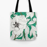 peonies Tote Bags featuring green peonies by Marcella Wylie